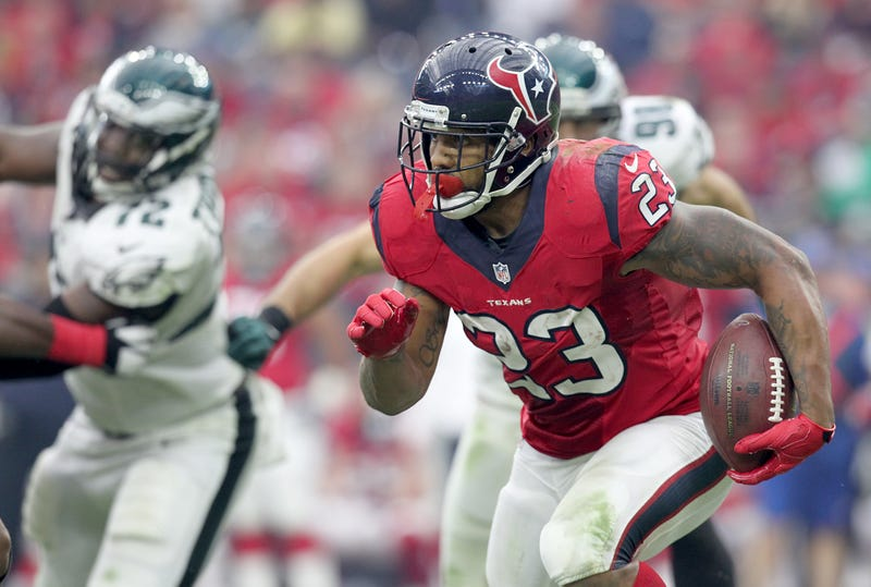 RB Arian Foster takes off against the Philadelphia Eagles.