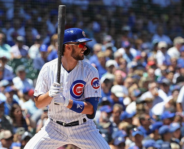 Cubs slugger Kris Bryant waits for a pitch at Wrigley Field.