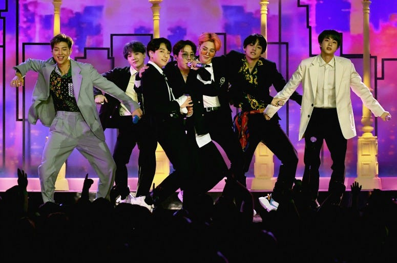 BTS perform onstage during the 2019 Billboard Music Awards at MGM Grand Garden Arena on May 1, 2019