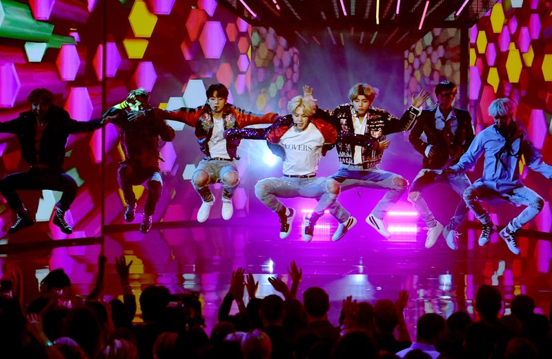 Music group BTS performs onstage during the 2017 American Music Awards at Microsoft Theater on November 19, 2017 in Los Angeles, California.