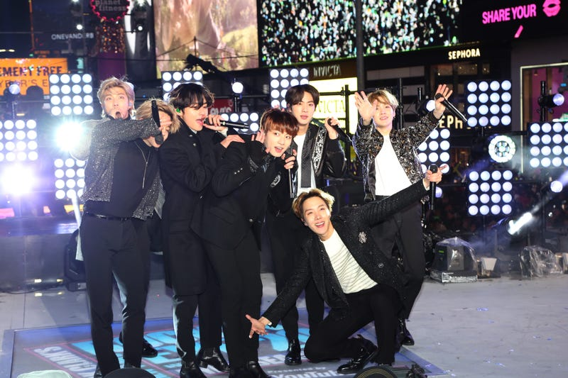BTS performs during the Times Square New Year's Eve 2020 Celebration on December 31, 2019 in New York City.