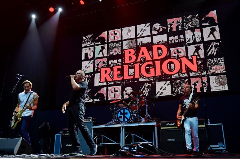 Jay Bentley, Greg Graffin, Jamie Miller and Brian Baker of Bad Religion perform during the first day of Warped Tour on June 29, 2019 in Atlantic City