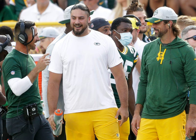 Green Bay Packers quarterback Aaron Rodgers (12), offensive tackle David Bakhtiari (69) and head coach Matt LeFleur against the New York Jets during their preseason football game on Saturday, August 21, 2021, at Lambeau Field in Green Bay, Wis. Wm. Glasheen USA TODAY NETWORK-Wisconsin Apc Packers Vs Jets 1027 082121wag