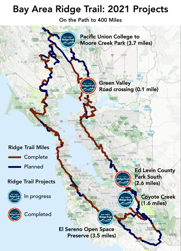 A 3.7-mile section connecting Pacific Union College and Moore Creek Park in Napa County combined with a 3.5-mile portion in Santa Clara County's El Sereno Open Space Preserve will allow the Ridge Trail to reach 400 miles by the end of the year.
