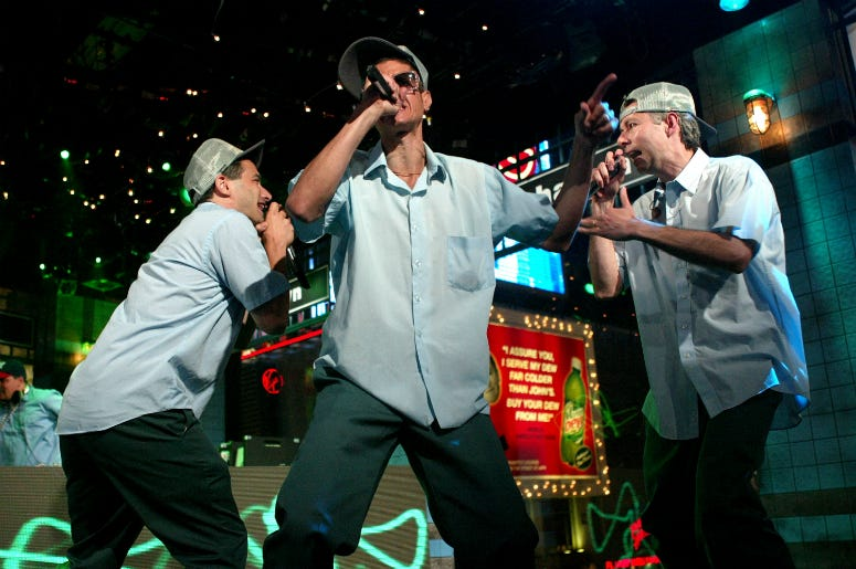"The Beastie Boys perform during a live taping of MTV's ""Live to the 5 Boroughs"""