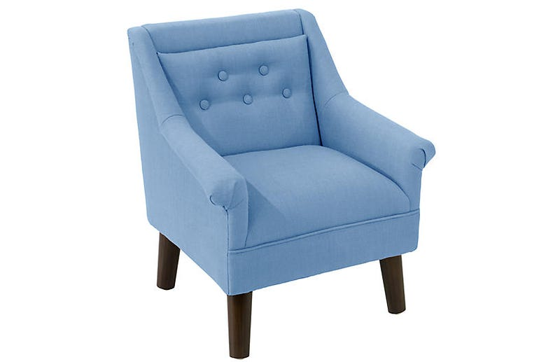 Bella Kids' Accent Chair, French Blue Linen