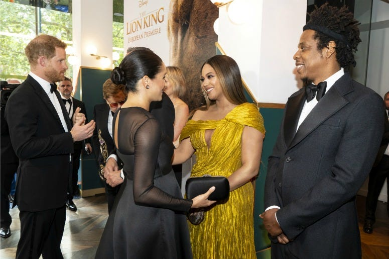 Prince Harry, Duke of Sussex and Meghan, Duchess of Sussex meets cast and crew, including Beyonce Knowles-Carter and Jay-Z
