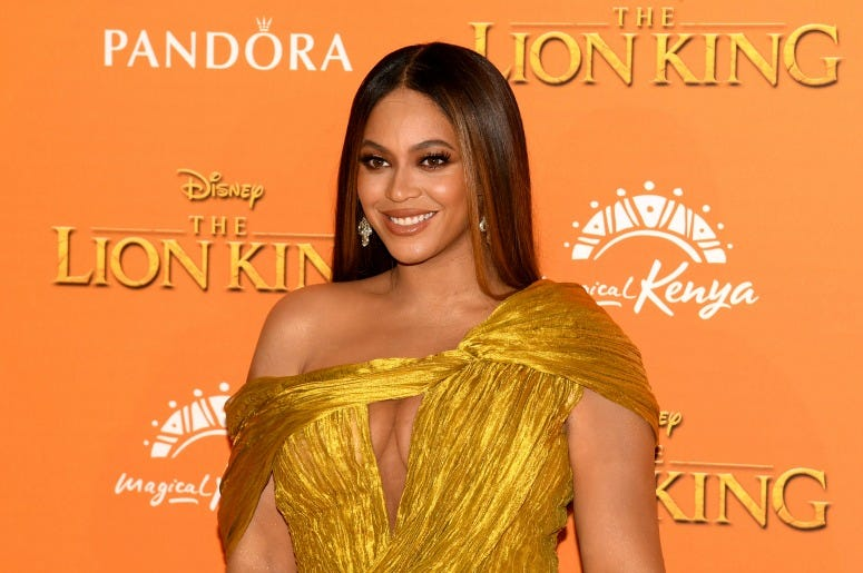 "Beyonce Knowles-Carter attends the European Premiere of Disney's ""The Lion King"""
