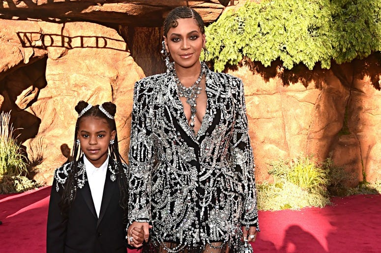 """Blue Ivy Carter and Beyonce Knowles-Carter attend the World Premiere of Disney's """"THE LION KING."""""""