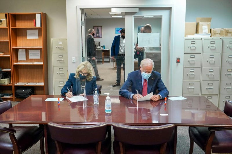 Democratic presidential nominee Joe Biden and his wife Dr. Jill Biden vote in the election at the Delaware State Building on Oct. 28, 2020.