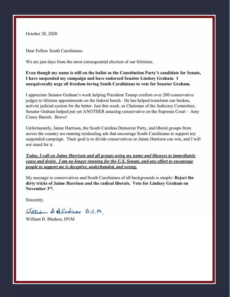 Constitution Party candidate Bill Bledsoe's letter endorsing Lindsey Graham