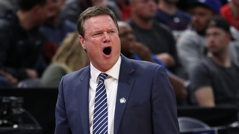 Kansas basketball coach Bill Self gets animated on the sidelines.