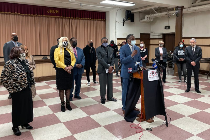 """Members of the Black Clergy of Greater Philadelphia and Vicinity discuss their """"Framework for Violence Elimination"""" plan."""
