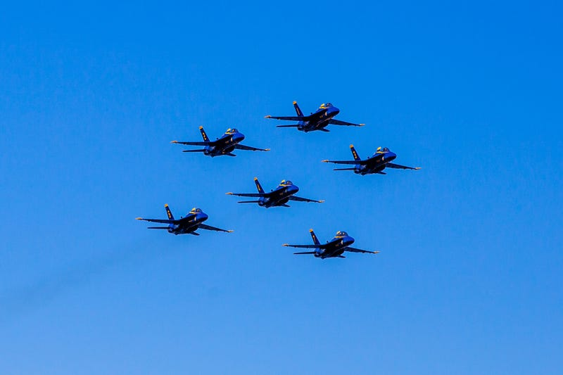 Blue Angels in formation over Seattle