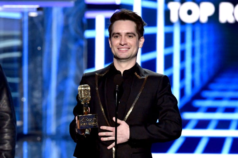 Brendon Urie of Panic! at the Disco accepts the Top Rock Song award for 'High Hopes' onstage during the 2019 Billboard Music Awards
