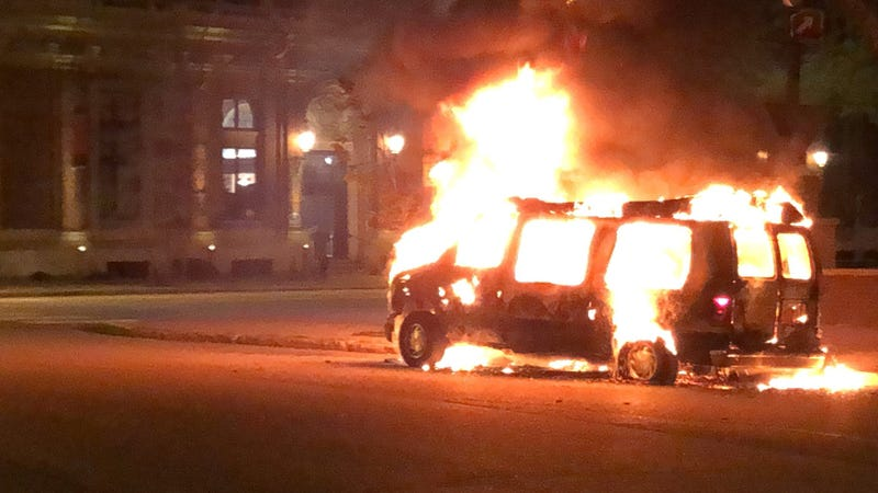 Rioters set fire to a bail bonds van at Niagara Square in Downtown Buffalo. May 30, 2020