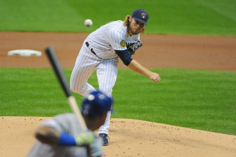 Sep 19, 2020; Milwaukee, Wisconsin, USA; Milwaukee Brewers relief pitcher Corbin Burnes (39) delivers a pitch against the Kansas City Royals in the first inning at Miller Park. Mandatory Credit: Michael McLoone-USA TODAY Sports