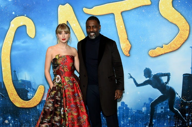 Taylor Swift and Idris Elba attend The World Premiere of Cats, presented by Universal Pictures on December 16, 2019
