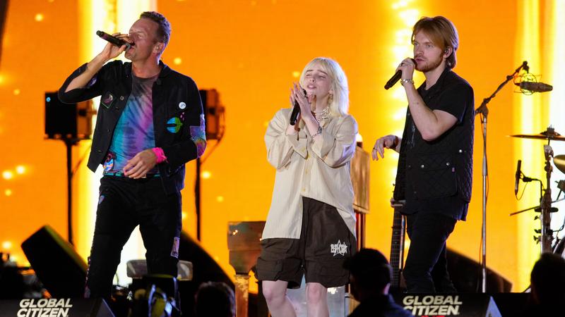 Chris Martin, Billie Eilish, and Finneas perform at Global Citizen on September 25, 2021 in New York City