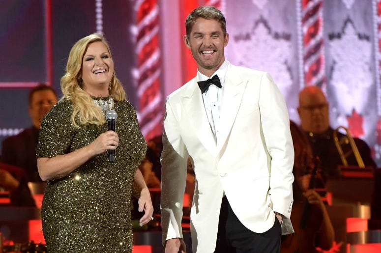 Trisha Yearwood and Brett Young perform during the 2019 CMA Country Christmas