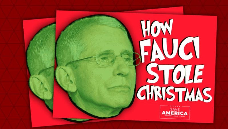"""Donald Trump's PAC, Save America, is offering these """"How Fauci Stole Christmas"""" stickers in exchange for a $25 donation."""