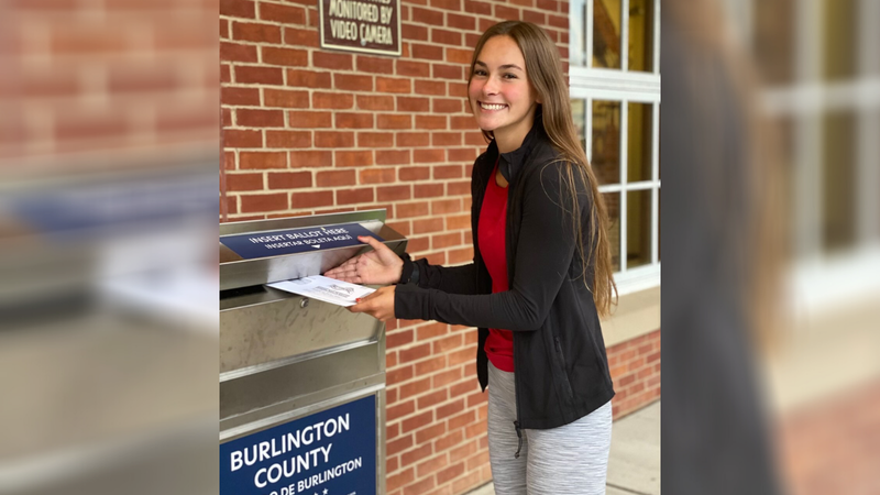Caroline Brinkman votes for the first time.