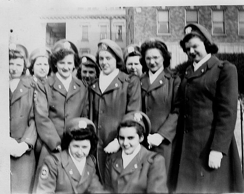 Grace Ann Malloy Carr and her fellow Cadet Nurses.