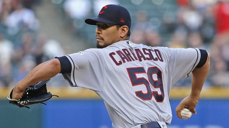 Carlos Carrasco of the Cleveland Indians delivers the ball against the Chicago White Sox.