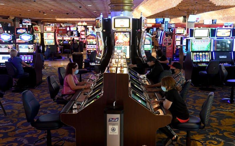 Gamblers play video poker in a Las Vegas casino