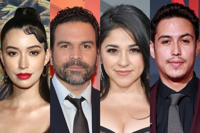"Christian Serratos, Ricardo Chavira, Noemi Gonzalez, Julio Macias from Netflix's ""Selena: The Series"""