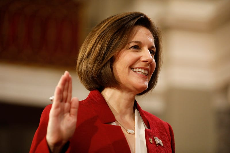 U.S. Sen. Catherine Cortez Masto (D-NV) participates in a reenacted swearing-in with U.S. Vice President Joe Biden in the Old Senate Chamber at the U.S. Capitol January 3, 2017 in Washington, DC.