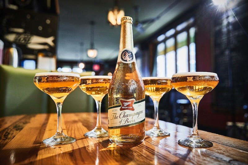 Miller High Life is being sold in champagne bottles for the holiday season.