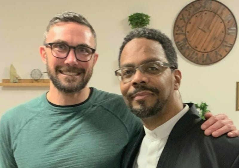 Eric Marsh of The Fathering Circle and Toby Fraser of Lutheran Settlement House work with the People's Emergency Center to host weekly talks for men dealing with domestic violence.
