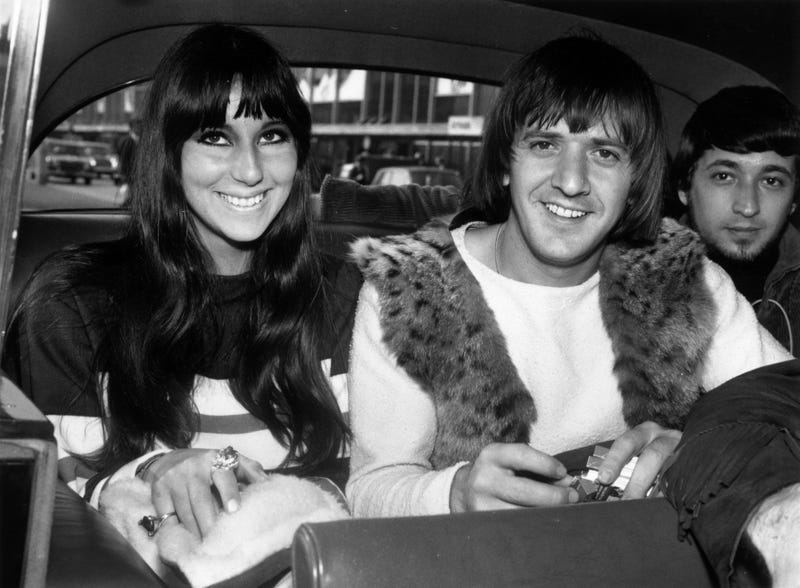 American singers Cher  and Sonny Bono on a visit to London.
