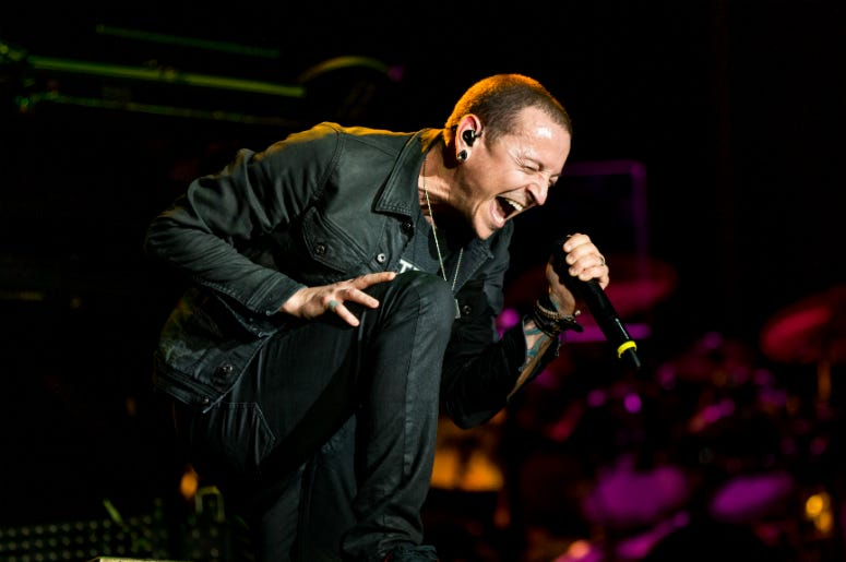 Chester Bennington of Linkin Park performs onstage during Rock in Rio USA