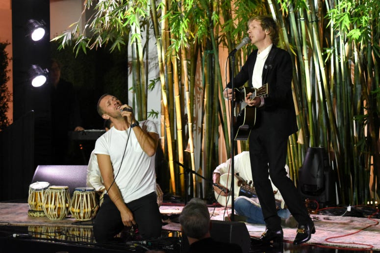 Chris Martin and Beck perform onstage during Hammer Museum's 17th Annual Gala
