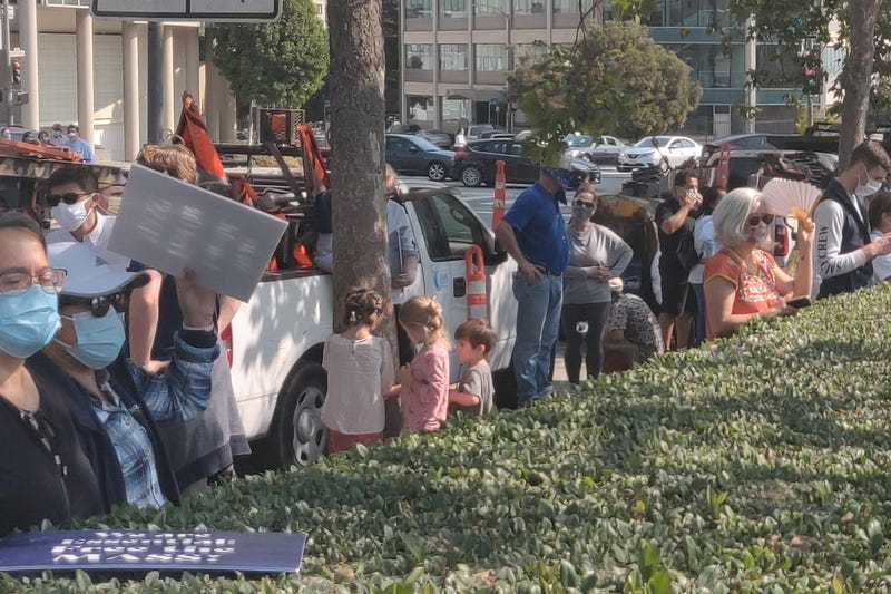 Hundreds of Catholics protested the closure of indoor church services due to the coronavirus.