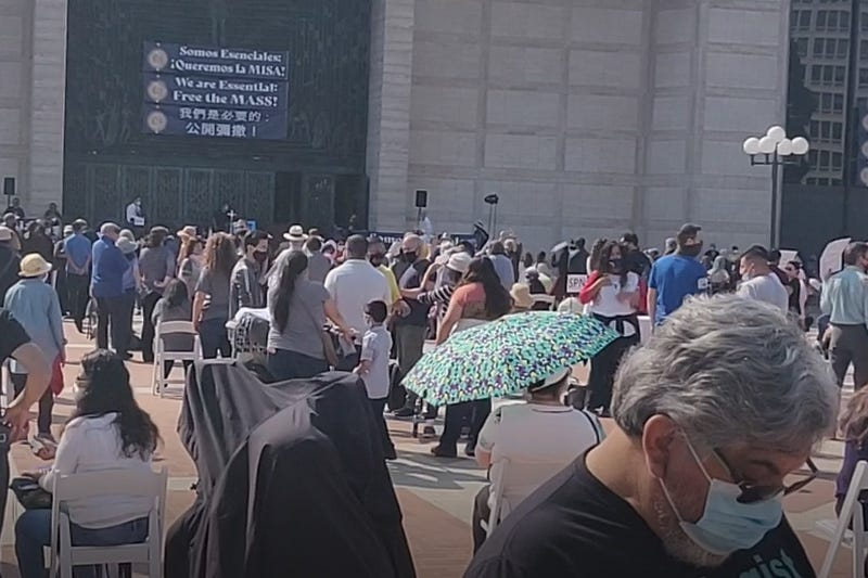 Hundreds gathered to protest the shutdown of indoor religious services amid the coronavirus.