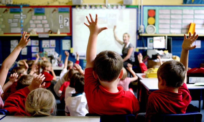 Classroom with hands raised