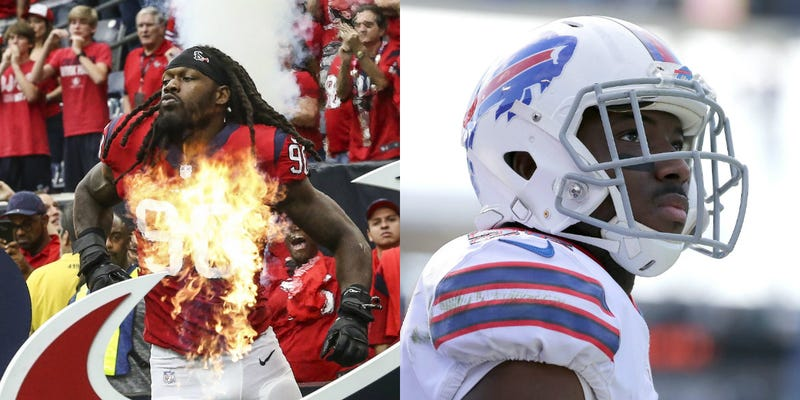Jadeveon Clowney (left) and LeSean McCoy (right) were both connected to the Eagles, but ultimately ended up with different teams.