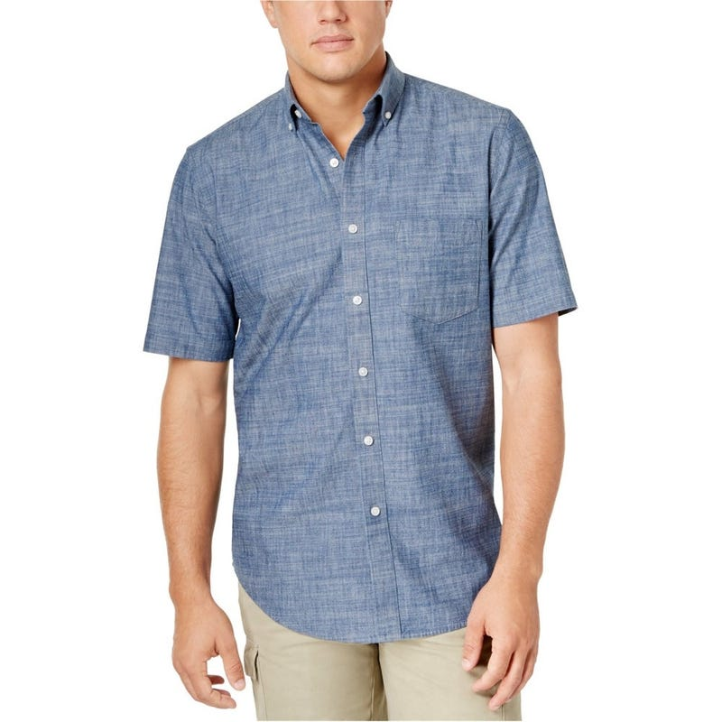 Club Room Mens Chambray Button Up Shirt