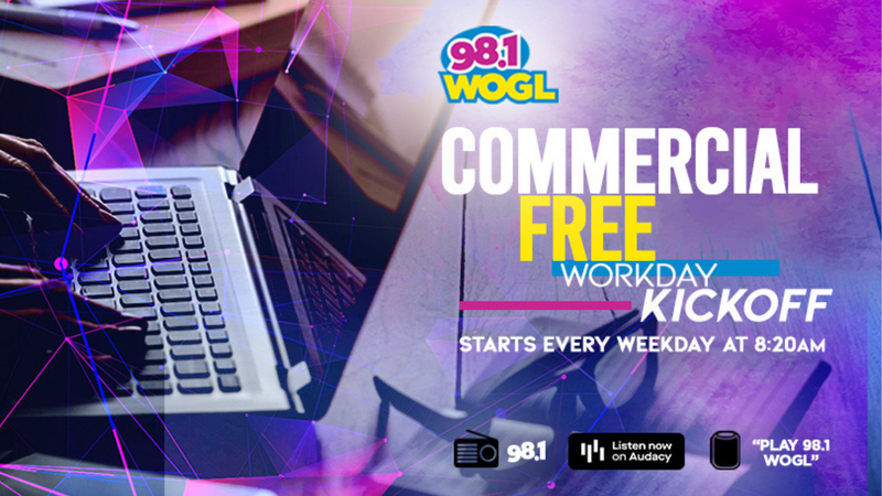 Kick-off your workday with 2+1/2 hours of commercial free music on 98.1 WOGL!