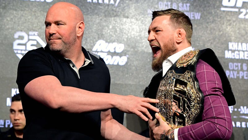 Dana White and Conor McGregor at a press conference for UFC 229 in 2018.