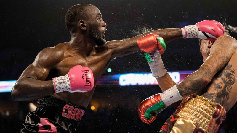 Terence Crawford lands a left hand to the head of Jose Benavidez Jr. during a welterweight boxing match in October 2018.