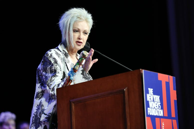 Cyndi Lauper speaks onstage during the 32nd Anniversary Celebrating Women Breakfast
