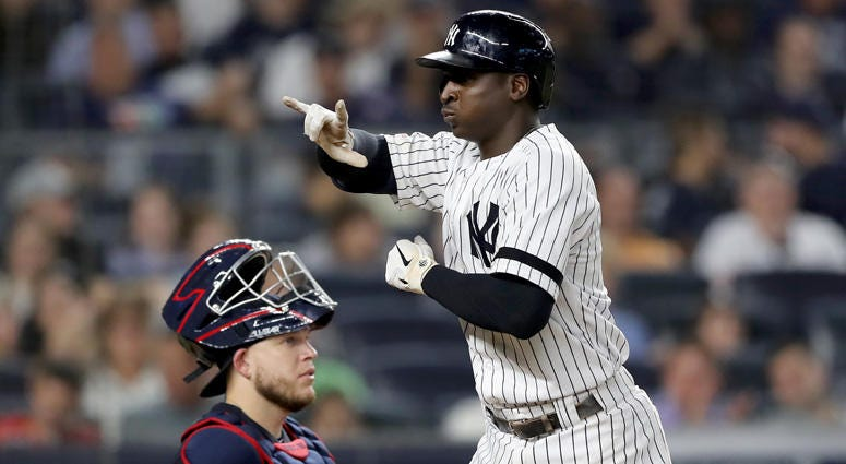 The Yankees' Didi Gregorius celebrates his solo home run against the Cleveland Indians on Aug. 15, 2019, at Yankee Stadium.
