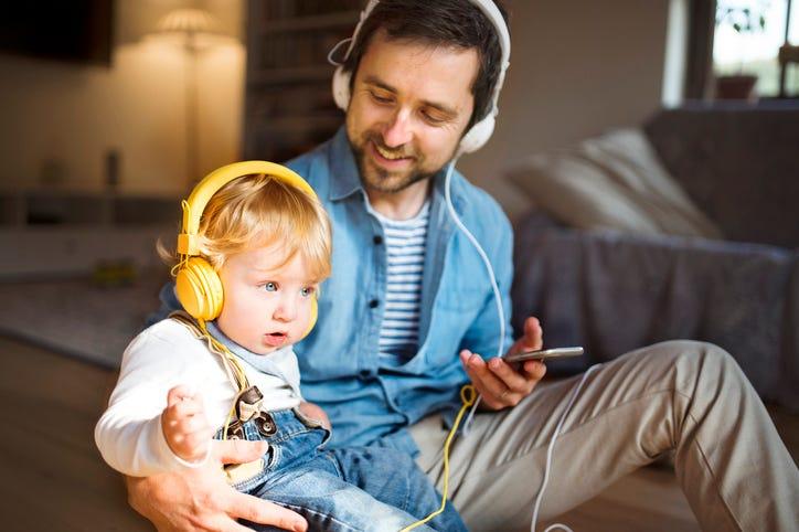 Dad with headphones