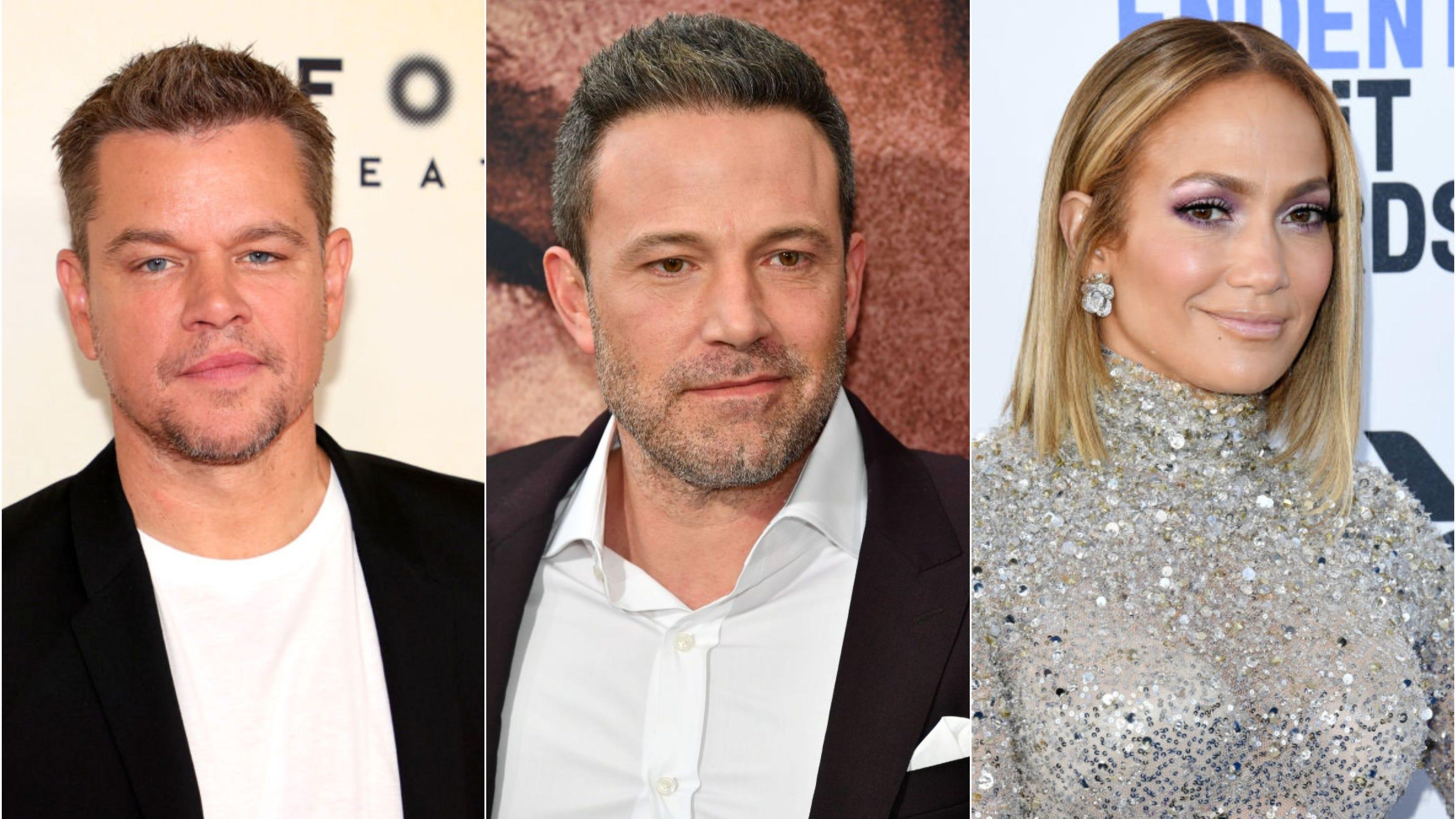 Matt Damon joins Ben Affleck and Jennifer Lopez for a stroll on the beach