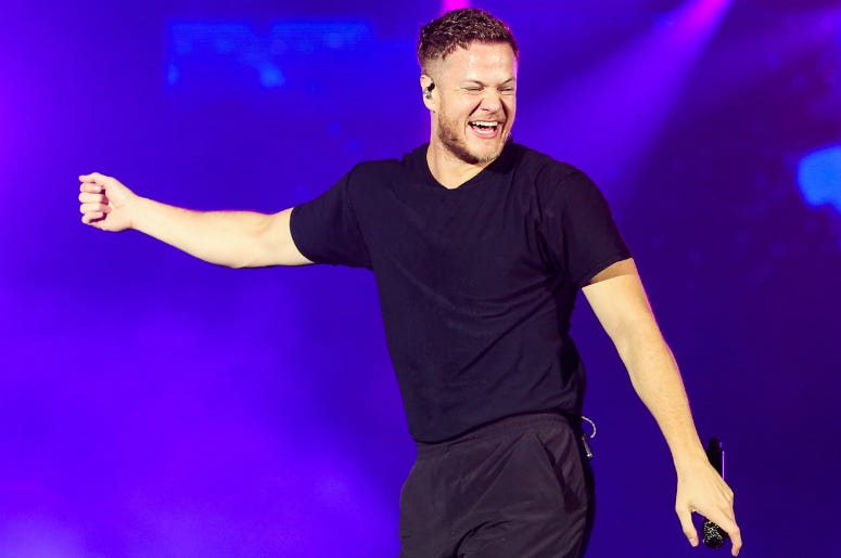 Dan Reynolds of Imagine Dragons performs on stage during Rock in Rio 2019
