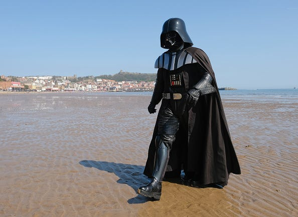 Darth Vader walking on beach